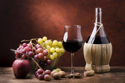 Cuadro natura morta con fiasco di vino efrutta