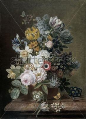 Cuadro Naturaleza muerta con flores, por Eelke Jelles Eelkema, c. 1815-39, pintura al óleo holandesa, óleo sobre lienzo. Ramo de rosas, tulipanes, narcisos, lirios, sobre un pedestal de piedra. Entre las flo