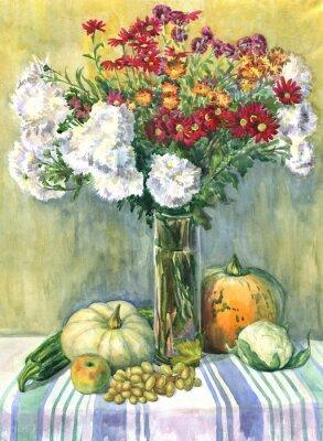Cuadro Naturaleza muerta con un ramo de flores, frutas y verduras. Pintura de acuarela