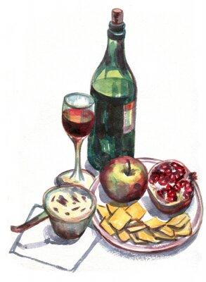 Cuadro Naturaleza muerta con vino y fruta. Pintura de acuarela