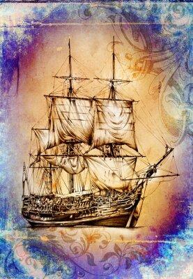 Cuadro Nave en la ilustración de arte de mar u océano