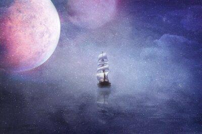 Cuadro Nave en la vastedad del universo ilustración de fondo