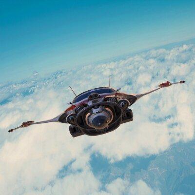 Cuadro nave espacial en el cielo azul