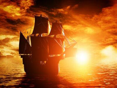 Cuadro Navegación de la nave antigua del pirata en el mar al atardecer