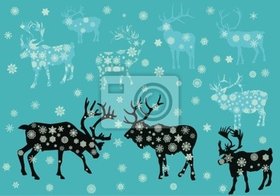 Navidad ciervos copo de nieve ilustración
