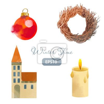 Cuadro navidad invierno guirnalda
