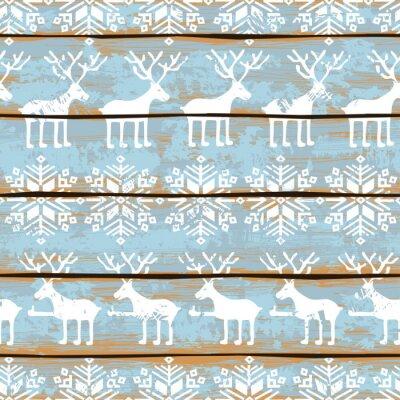 Cuadro Navidad sin patrón, con ciervos y los copos de nieve