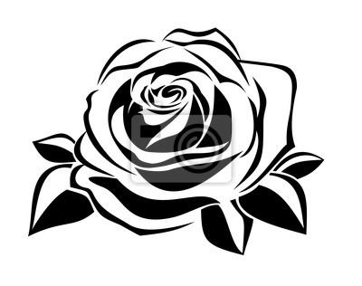 Negro Silueta De La Rosa Ilustración Del Vector Pinturas Para La