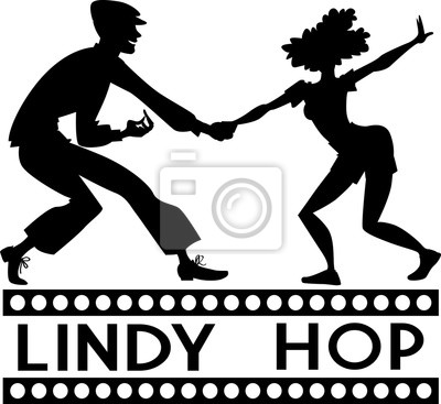 Negro vector silueta de un baile de pareja swing o lindy hop ...