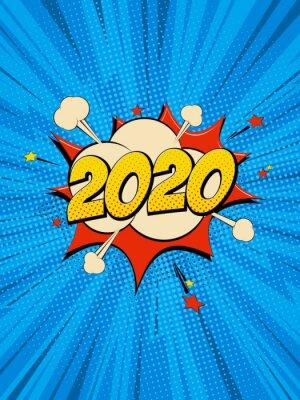 Cuadro New Year 2020 pop art comic background lightning blast halftone dots.