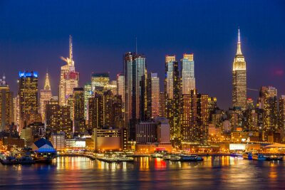 Cuadro New York City Manhattan midtown buildings skyline night