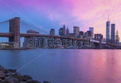 Cuadro New York City Manhattan panorama at sunset