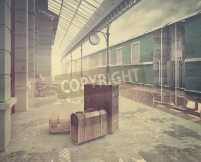 Cuadro Niebla en la estación de ferrocarril de ferrocarril retro.
