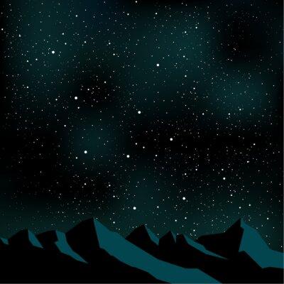 Cuadro Night sky stars, mountain landscape, vector illustration