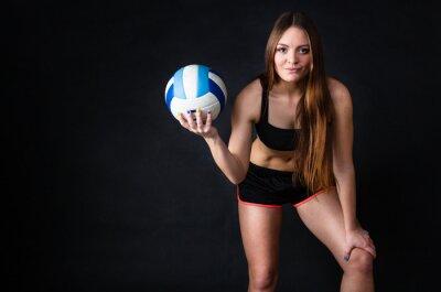 Cuadro Niña de la celebración de voleibol en el fondo negro