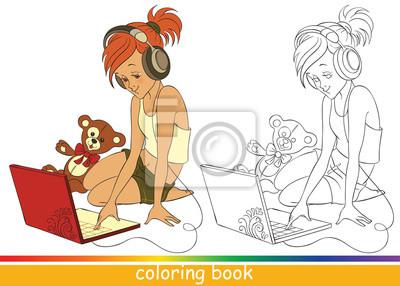 Niña Linda En La Computadora Portátil Dibujo Para Colorear