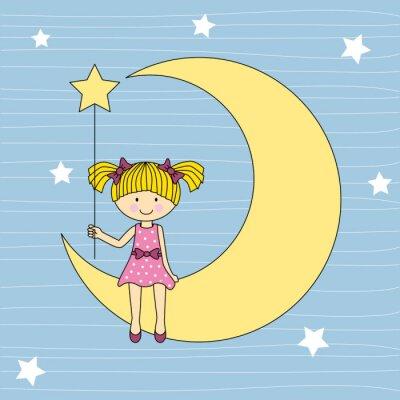 Cuadro Niña Sentada en la luna