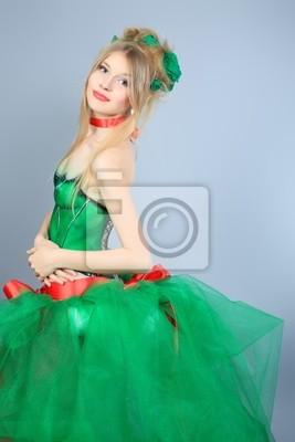 ninfa en vestido verde