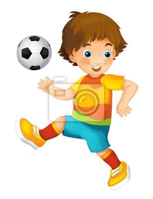 Niño De Dibujos Animados Jugando Al Fútbol Actividad Deportiva