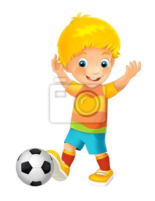 Cuadro Niño de dibujos animados jugando al fútbol - actividad deportiva -  ilustración para niños 1bbd3ad41eb21