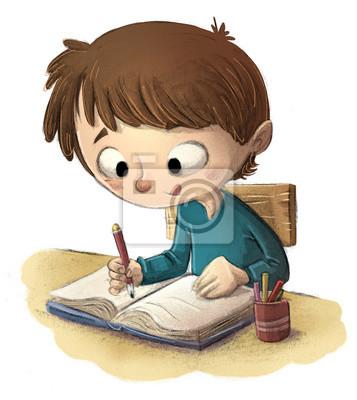 Niño Estudiando En Colegio Pinturas Para La Pared Cuadros