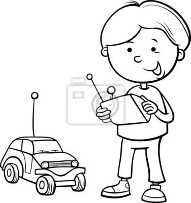 Niño y el coche a distancia para colorear pinturas para la pared ...