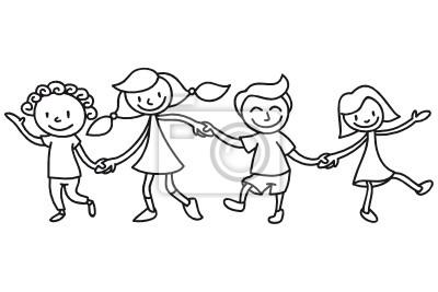 Niños Amistad Colorear Pinturas Para La Pared Cuadros Maestro
