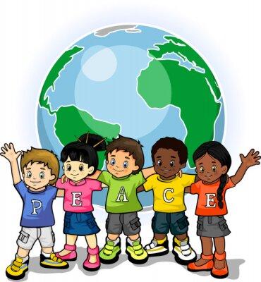 Niños del mundo unido de la paz 1 pinturas para la pared • cuadros ...