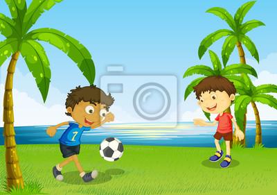 Ninos Jugando Al Futbol En La Orilla Del Rio Pinturas Para La Pared