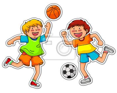 Ninos Jugando Al Futbol Y Baloncesto Pinturas Para La Pared