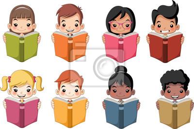 Niños Lindos De Dibujos Animados Leyendo Libros Estudiantes