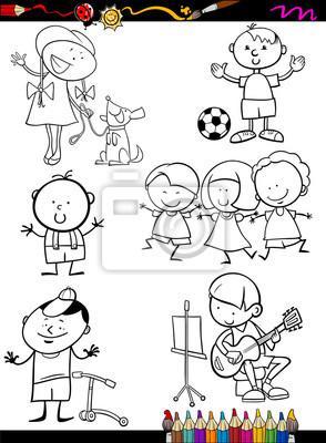 Cuadro Niños Para Colorear De Dibujos Animados Conjunto