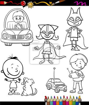 Niños para colorear de dibujos animados conjunto pinturas para la ...