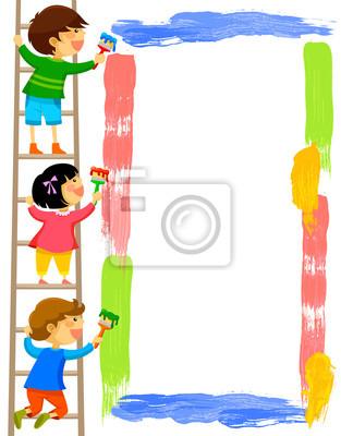Niños pintando un cuadro pinturas para la pared • cuadros en blanco ...