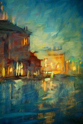 Cuadro noche a Venecia, pintura de óleo sobre lienzo, ilustración