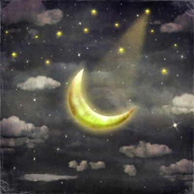 Cuadro Noche con estrellas y luna