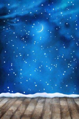 Cuadro Noche de invierno pintura de fondo