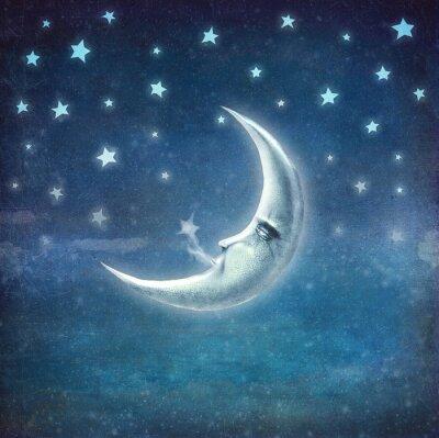 Cuadro Noche, tiempo, estrellas, luna, fondo
