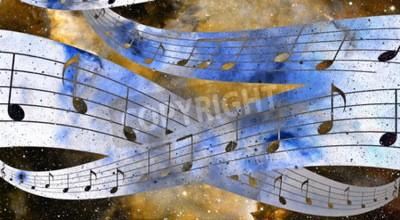 Cuadro Nota de música y espacio y estrellas con fondo de color abstrtact