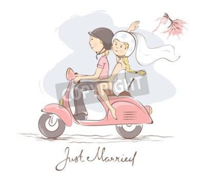 Cuadro Novia y el novio en una moto / ilustración vectorial, tarjeta, novia lanza el ramo