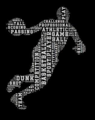 Cuadro Nube de la palabra del jugador de baloncesto, fondo de la tipografía del baloncesto
