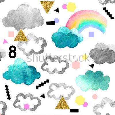 Cuadro Nubes acuarelas lindas con elementos de brillo de arco iris y oro. Modelo inconsútil con los objetos de la acuarela aislados en el fondo blanco para su diseño: materia textil, tela, postal.
