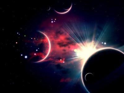 Cuadro Nubes espaciales y planetas