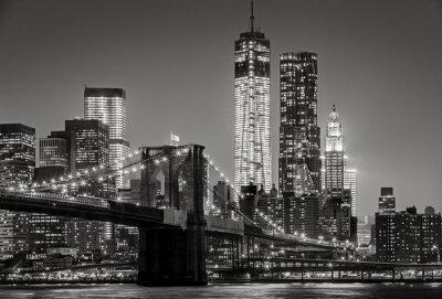 Cuadro Nueva York por la noche. Puente de Brooklyn, el Bajo Manhattan - un Negro