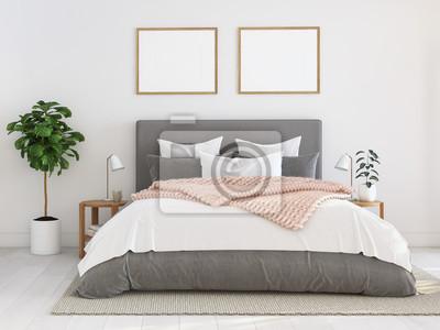 Cuadro nuevo y moderno dormitorio en un departamento. Representación 3D