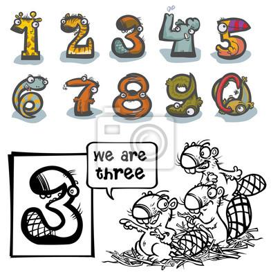 Cuadro Número De Animales De Dibujos Animados Con El Número Tres Para