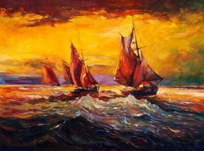 Cuadro Océano y barco