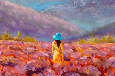 Cuadro Oil Painting Beautiful Girl stands with her back in a lavender pink flower field - floral French Tuscan landscape