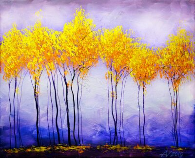 Cuadro Oil painting landscape, abstract colorful gold trees