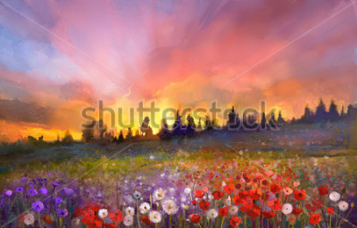 Cuadro Oil painting poppy, dandelion, daisy flowers in fields. Sunset meadow landscape with wildflower, hill, sky in orange and blue violet color background. Hand Paint summer floral Impressionist style